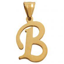 Stainless Steel Letter Pendant B (32 mm) Gold (1 pcs)