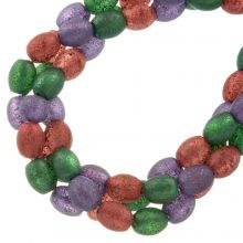 Glass Beads Frosted Glitter (8 x 6 mm) Party Mix (65 pieces)