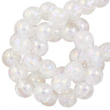 Electroplated Crackle Glass Beads (6 mm) Crystal AB (70 pcs)