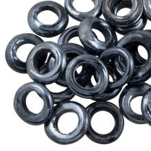 Closed Glass Rings (outer size 14 mm, inner size 8 mm) Antracite (25 pcs)