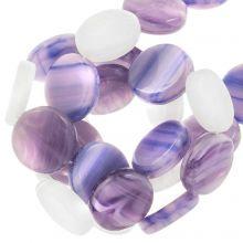 Glass Beads Flat (12 x 3.5 mm) Lavender (30 pcs)