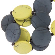 Ceramic Beads (23 x 3.5 mm) Yellow / Grey (8 pcs)