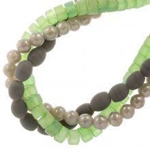 Glass Beads Frosted Glitter (4 - 8 mm) Forest Mix (98 pieces)