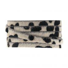 DQ Flat Leather Safari (5 x 2 mm) Leopard Light Brown Print (1 meter)