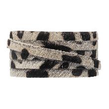 DQ Flat Leather Safari (5 x 2 mm) Leopard Off white Print (1 meter)
