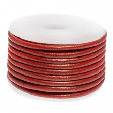 DQ Leather Metallic (3 mm) Bright Red (5 Meter)
