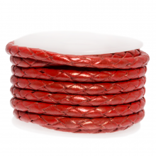 DQ Braided Leather Metallic (3 mm) Bright Red (2.5 Meter)