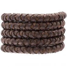 DQ Braided Leather (8 mm) Chestnut (1 Meter)