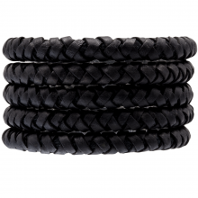 DQ Braided Leather (8 mm) Black (1 Meter)
