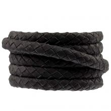 Oval Braided DQ Leather (6 x 3 mm) Black (1 meter)
