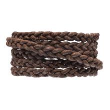 DQ Flat Braided Leather Vintage (6 x 3.5 mm) Brown (1 Meter)