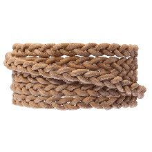 DQ Flat Braided Leather Vintage (6 x 3.5 mm) Camel (1 Meter)