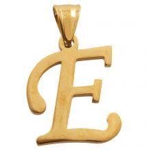 Stainless Steel Letter Pendant E (32 mm) Gold (1 pc)