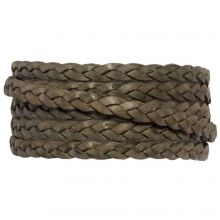 Flat Braided DQ Leather (5 x 2 mm) Grey Taupe (1 Meter)