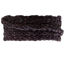Flat Braided DQ Leather (5 x 2 mm) Dark Brown (1 Meter)