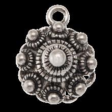 Traditional Button Charm (15 mm) Antique Silver (10 pcs)