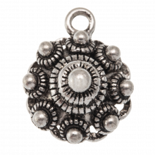 Traditional Button Charm (14 mm) Antique Silver (10 pcs)