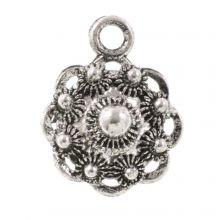 Traditional Button Charm (13 mm) Antique Silver (10 pcs)