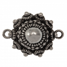 Traditional Button Connector 2 Eyelets (25 mm) Antique Silver (2 pcs)