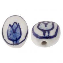 Delft Blue Ceramic Beads Oval (14 x 11 x 7) White-Blue (4 pieces)