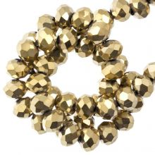 Faceted Rondelle Beads (2 x 3 mm) Frozen Gold (130 pcs)