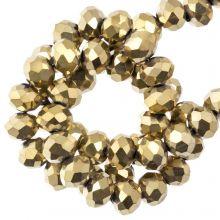 Faceted Rondelle Beads (4 x 6 mm) Frozen Gold (90 pcs)