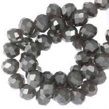 Faceted Rondelle Beads (3 x 4 mm) Antique Silver (130 pcs)