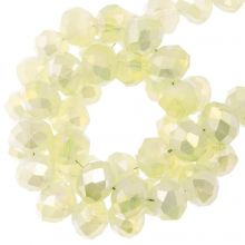 Faceted Rondelle Beads (4 x 6 mm) Pale Yellow (90 pcs)
