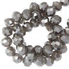 Faceted Rondelle Beads (4 x 6 mm) Antique Silver (90 pcs)