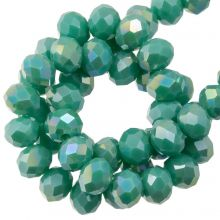 Faceted Rondelle Beads (3 x 4 mm) Aqua Green (130 pcs)