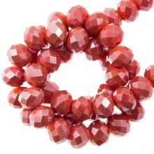 Faceted Rondelle Beads (4 x 6 mm) Coral Red (90 pcs)