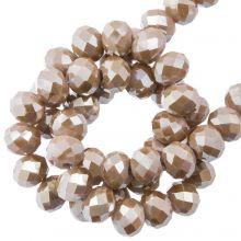 Faceted Rondelle Beads (4 x 6 mm) Mocha (90 pcs)