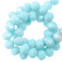 Faceted Rondelle Beads (4 x 6 mm) Baby Blue (90 pcs)
