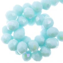 Electroplated Faceted Rondelle Beads (8 x 6 mm) Baby Blue (67 pieces)