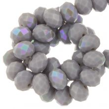 Electroplated Faceted Rondelle Beads (8 x 6 mm) Lilac Grey (67 pieces)