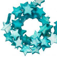 Shell Beads Star (11 mm) Aqua Blue (38 pcs)