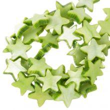 Shell Beads Star (11 mm) Light Green (38 pcs)