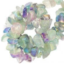 Electroplated Gemstone Chips Fluorite (13 -23 mm) 35 pcs