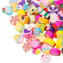Bead Mix - Polymer Clay Beads (11 x 5 mm) Mix Color (50 pieces)