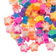 Bead Mix - Polymer Clay Beads Star (9 x 4.5 mm) Mix Color (50 pieces)