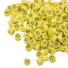 Polymer Clay Beads Smiley (5 x 3 mm) Yellow (50 pieces)