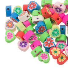 Bead Mix - Polymer Clay Beads Heart with Flower (10 x 5 mm) Mix Color (50 pieces)