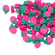 Polymer Clay Beads Strawberry (12 x 4 mm) Pink / Green (30 pieces)