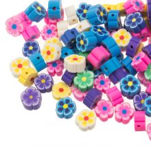 Bead Mix - Polymer Clay Beads Flower (9 x 4 mm) Mix Color (50 pieces)