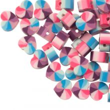 Bead Mix - Polymer Clay Beads Heart (10 x 5 mm) Mix Color Blue / Pink (50 pieces)
