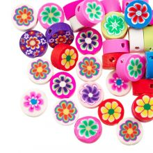 Bead Mix - Polymer Clay Beads Flower (10 x 4.5 mm) Mix Color (50 pieces)