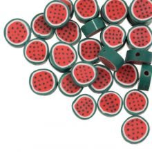 Polymer Clay Beads Watermelon (10 x 4.5 mm) Red / Green (50 pieces)
