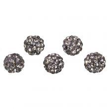 Shamballa Beads (10 mm) Black Diamond (5 pcs)