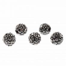 Shamballa Beads (8 mm) Antracite (5 pcs)