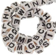 Acrylic Mix Letter Beads (7 x 7 mm) White (50 pcs)